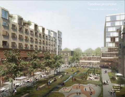 STORE VISJONER: Grunneierne ønsker en betydelig utbygging av kvartalet der Tandberggården står i dag.
