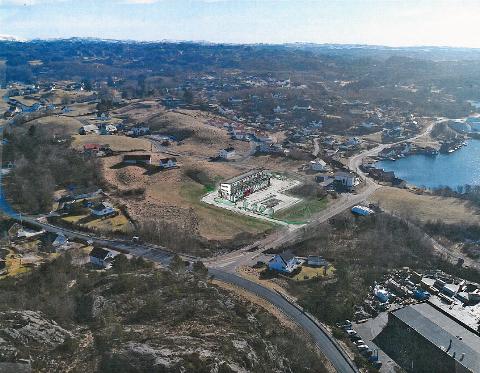 SENTRALT PLASSERT: Nybygget skal plasseres midt i det som er tenkt å bli Hellviks nye sentrum i Marren. Bildet viser en tidlig skisse. Det ferdige bygget kan bli seende annerledes ut. Nederst i høyre kant sees tomta til Hellvik hus.