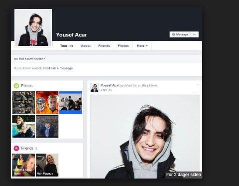 SKAM: Liergutten Cengiz Al, her avbildet på Facebooksiden til Yousef Acar. Bildet viser at Yousef har to venner, i virkeligheten er dette to som jobber i produksjonsteamet bak SKAM-serien. Denne informasjonen er nå slettet fra profilen.