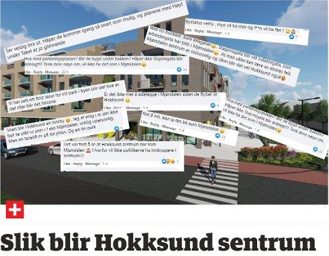 """UENIGHET: Noen er svært positiv til de nye planene i Hokksund, mens andre frykter at Hokksund vil """"ende opp som Mjøndalen""""."""