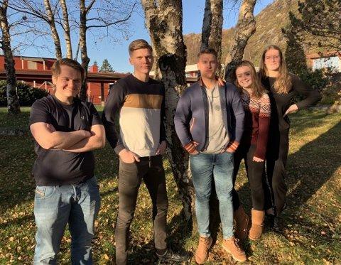 STYRET i FRAMFLYT: F.v. Jetmund Ervik, Berge Andal, Johannes Berg, Rikke Otneim og Amalie Dalelv