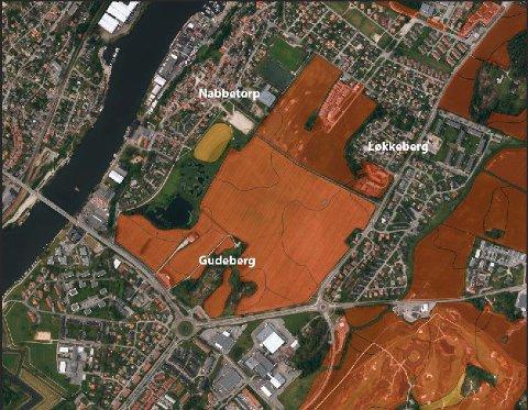 God jord i by'n. Den røde fargen betyr at jorda har svært god kvalitet. Som kjent er det sterkt nedbyggingspress mot kvalitetsjorden ved Brohodet.