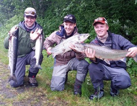 STORFANGST: Benjamin Karolius, John Eivind Nylund og Markus Danielsen Holmer fikk disse fiskene på 45 minutter. Foto: Bjørn Inge Nylund.