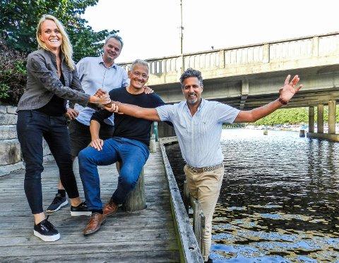 TRYGGE LANGS BRYGGA: Fra venstre: Ragnhild Dahl Lauritzen, Kai Henning Melberg, Joakim Karlsen og Abid Raja.
