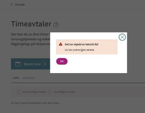 FEILMELDING: Slik så det ut da folk i Lillestrøm forsøkte å bestille time for koronatest torsdag.