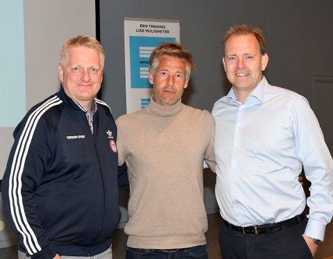 SAMMEN MOT DOPING OG RUS: Thor-Erik Stenberg, Lars Richard Bache og Anders Solheim ser frem til å jobbe sammen. PS: Bækkelagets representant var ikke tilstede da bildet ble tatt.