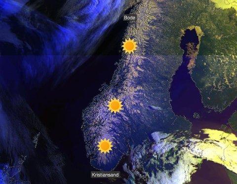 SOL: Kartet viser at det er sol i store deler av Norge nå. Resten av påsken blir preget av sol og varme her på Romerike.