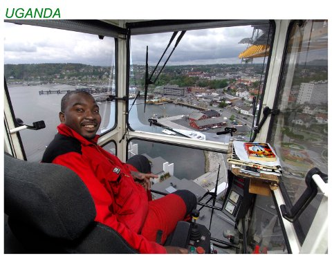 HØYT OVER BYEN: Isa fra Uganda hadde lenge byens høyeste arbeidsplass. Han jobbet som kranfører under Kilenutbyggingen.