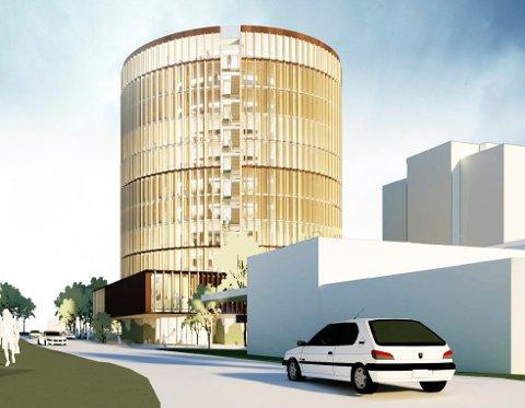 SIGNALBYGG: Vestfold tingrett øverst i Dronningens gate er tenkt som et ti etasjes sirkelformet bygg, her sett fra Skiringssalveien. T.h. Circle K. (Illustrasjon: KHR Arcitecture)