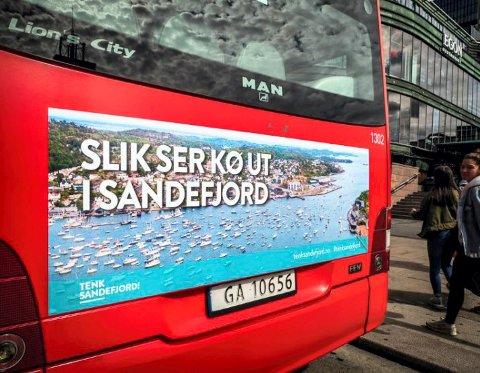 MOBILITETSPLAN: Målet med Mobilitetsplanen er effektiv, brukervennlig og trygg transporthverdag for innbyggere og næringsliv. Bildet viser Sandefjords promotering av transportsituasjonen i Tenk stort-kampanjen.
