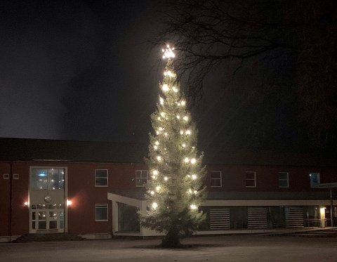 FOLLA SKOLE: I år ble juletreet i skolegården på Folla skole ordnet av frivilligheten i Follafoss. I tidligere år var det Verran kommune som satte opp juletreet.