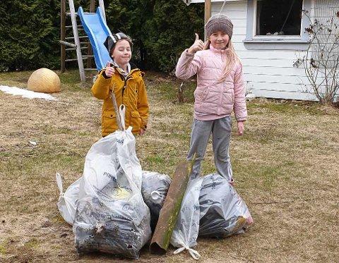 Isak (6) og Isabell (8) plukket masse søppel sammen med mamma Ailin tirsdag.