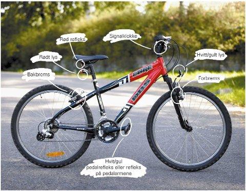 Dette er påbudt utstyr på sykkelen (Foto: Trygg Trafikk)