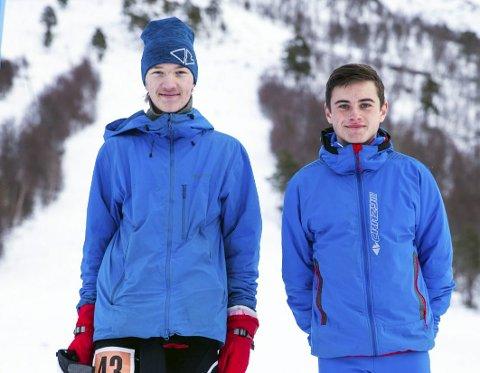 På pallen: Edvard Sætran Solli og Erik Kårvatn kjørte norgescup i randonee.