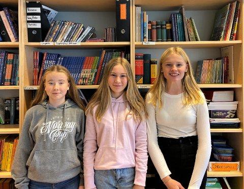 Miljøengasjerte 8.klassinger på Kongseik Ungdomsskole: Oline Buran Sveri (13), Linea Flafferty Normann (13) og  Anna Sophie Bjerknæs (13) går i 8.klasse og er svært miljøbevisste.