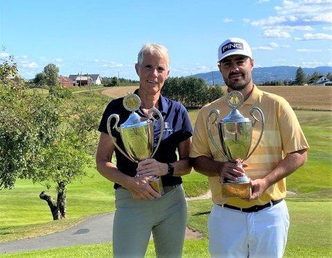 ÅRETS KLUBBMESTERE: Åsa Westman og Tim Wilkinson gjentok foråret og gikk seirende ut av klubbesterskapet ved Hauger golfklubb.