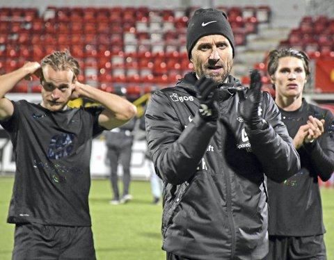 I en kamp der det var svært viktig ikke å tape, fikk Brann-trener Eirik Horneland styrket tro på at laget hans har det som skal til for å overleve i eliteserien. Foto: Rune Stoltz Bertinussen , NTB