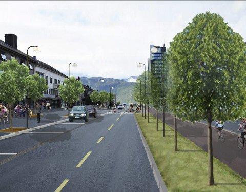 SLIK KAN DET BLI: Sånn ser veivesenet for seg ei ny miljøgate gjennom sentrum etter at bytunnelen er på plass.  Illustrasjon: Statens vegvesen