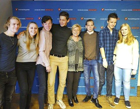 Møtte siv: Robin og andre medlemmer møtte partileder Siv Jensen på et kurs i desember.