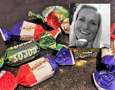 LIKER IKKE ALT: Mona Fossen (innfelt) irriterte seg over at det bestandig ble igjen Twist ingen i husstanden spiste opp. Dermed la hun den ut til salgs/bytte på Facebook-siden Kjøp og salg Aurskog-Høland.