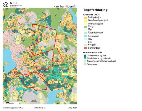 Mye av jorda i Kalbergområdet er selvdrenert. Det er en stor fordel i et vått klima som antagelig blir enda våtere i framtiden.