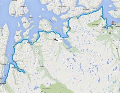Reisetida mellom Skibotn og Alta vil nærme seg 3,5 timer når det store veiprosjektet blir avsluttet om 2 år. (Google Maps)