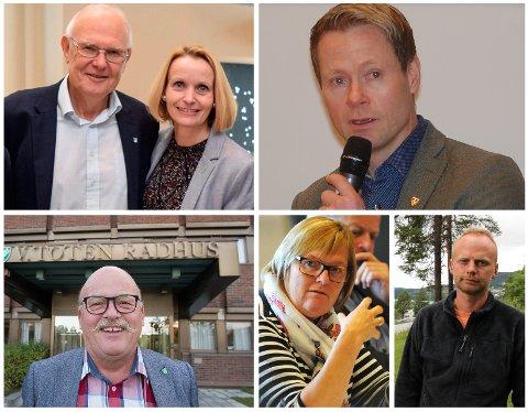 Nå er det mulig å søke fram ordførerens lønninger. Her representert ved (med klokka) Bjørn Iddberg (Gjøvik), Guri Bråthen (Østre Toten), Harald Tyrdal (Lunner), Kjell Berge Melbybråten (Øystre Slidre),  Inger Torun Klosbøle (Nord-Aurdal) og Leif Waarum (Vestre Toten). Arkivbilder