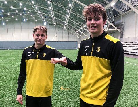 VELKOMMEN ETTER: Tobias Sagstuen Andersen (t.h.) og Håvard Solbakken Befring er de to yngste i OBOS-ligatroppen til Raufoss.