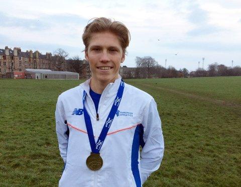 STERKT: Simen Halle Haugen tok en 5. plass individuelt og sørget samtidig for norsk lagseier terrengløp EM for juniorer.