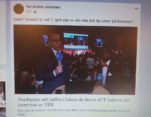 DELTE: Tor André Johnsen delte denne artikkelen med påfølgende kommentar onsdag kveld. (Foto: Ø-tipser)