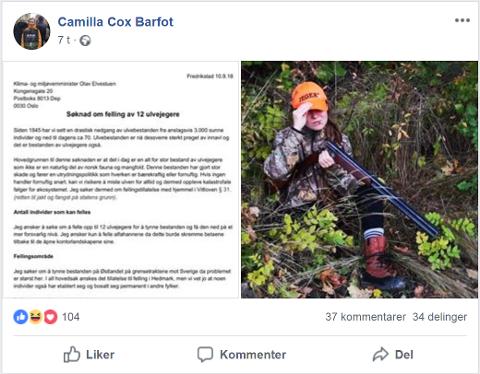 BREV OG BØRSE: Camilla Cox Barfot la ut søknaden på Facebook tirsdag, fulgt av et bilde av seg selv i jaktklær. Skjermdump: Facebook