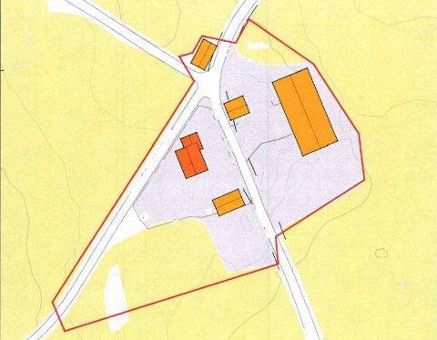 Kart: Ønsket fradeling av gårdstun.