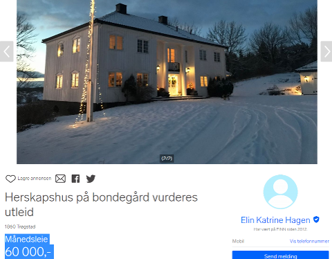 EKSKLUSIVT: Nå kan du leie et hus i Trøgstad for 60 000 i måneden.