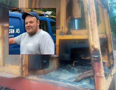 Det var et trist syn som ventet Erik Mathisen da han skulle bruke gravemaskinen på Vetan.