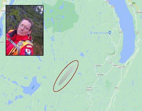INVITERER TIL JAKT :Områdeleder for Søndre Buskerud Røde Kors Hjelpekorps, Christian Hollie inviterer lokalbefolkningen til å delta i meteorittsøket.
