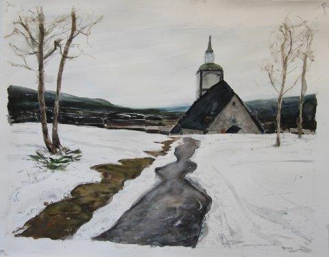 """""""NESTEN HJEMME"""": Christer Tronsmed har """"nesten"""" flyttet hjem til Røros med familien. Her en helt fersk akvarell/goauche som han har malt i oktober i år."""