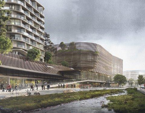 STORE PLANER: Slik mener Olav Thon, Espen Galtung Døsvig og Tore Andersen at det vil kunne gå an å bygge om bygarasjen. Som en ser er det også blitt plass til en elv i Vestre Strømgaten. ILLUSTRASJON: Opus, 3RXN, Arup og Gxn.