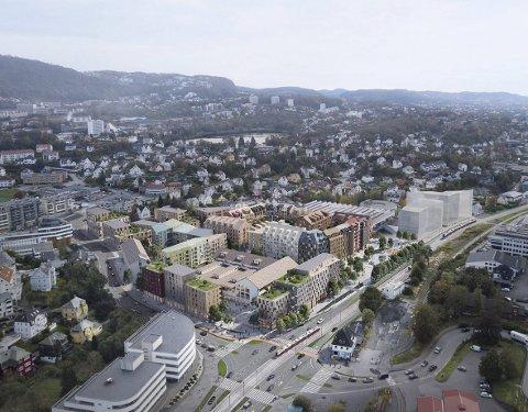 Slik ser Bonava for ser at prosjektet Bergensmeieriet skal se ut når tomten er ferdig utbygget med                                                mellom 600 og drøyt 700 boliger og 18.000 kvadratmeter næring.