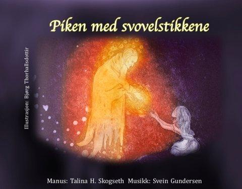 Plakaten til «Piken med Svovelstikkene» på Røde Mølle er tegnet av kunstneren Bjørg Thorhallsdottir.
