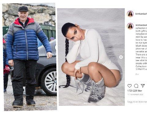 I GODT SELSKAP: Kong Harald og Kim Kardashian West er begge glad i de italienske Moon Bootsene. Foto: Terje Pedersen / NTB / Instagram