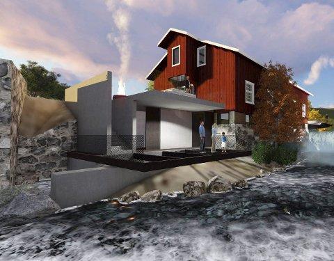 ROSENDALSMØLLA: Slik kan det nye hotellet i Rosendalsmølla bli. Illustrasjon: Pilot Arkitekter