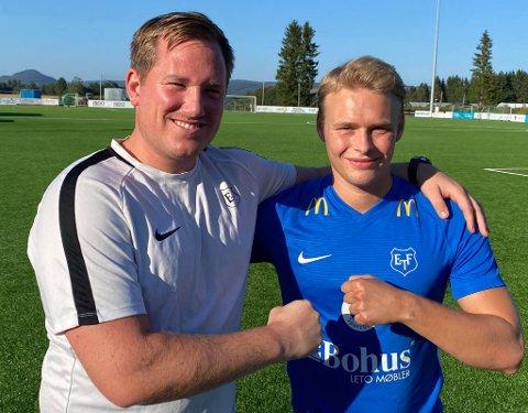 Jørgen Kolstad (t.h.) forlater moderklubben Søndre Høland. Nå skal han spille for trener Joakim Dragsten og Eidsvold Turn i PostNord-ligaen. Foto: Eidsvold Turn Fotball