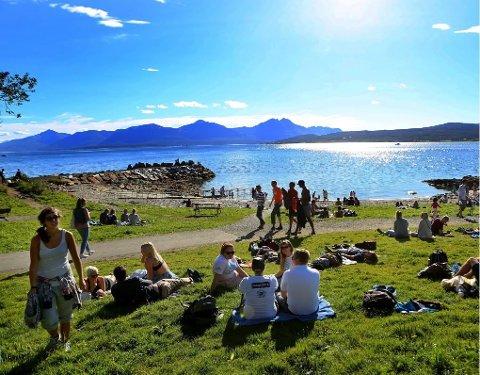 YNDET UTFARTSSTED: Folkeparken og telegrafbukta er et yndet utfartssted om sommeren. Kommunen har lenge forsøkt å få kjøpe området, men grunneier - Opplysningsvesenets fond - vil ikke selge. Nå vil Tromsø kommune regulere eiendommen på nytt.