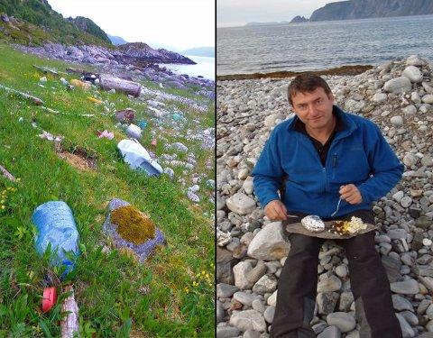 MYE SØPPEL: Kaiakpadleren Bjørn Tore Sørensen har gjennom flere år sett mye søppel i fjæra i Troms. Foto: Privat