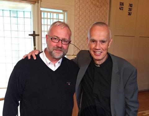 POSITIV MOTTAGELSE: Kirkeverge i Gjøvik, Jan Egil Pettersen (til venstre), gleder seg til Diakonihuset kommer på plass. Her med pensjonert sokneprest Gregers Lundh.