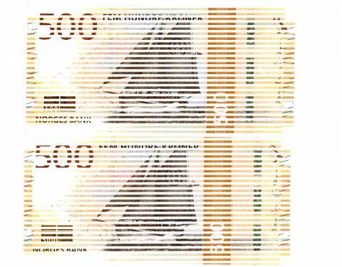 EKTE PENGER: Bildet viser to av sedlene mannen sendte til Statsforvalteren. I kopien er sedlene bevisst gjort stripete.