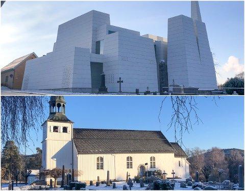 EN OG TO: Østre Porsgrunn og Eidanger kirke.