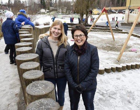 Helsesøstrene Elin Tidemann Klevberg og Ann Karin Swang gleder seg over å få nye kolleger og til å kunne hjelpe barn tidligere. Her er de på Ullerål skole.