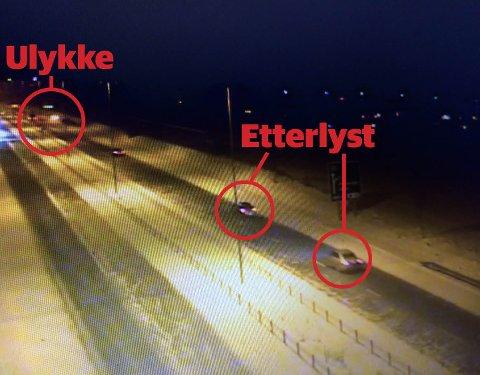 ULYKKEN: Mellom ulykkesstedet og de to etterlyste bilene kan du se den siktedes bil. Bildet er tatt kun sekunder før ulykken skjedde. FOTO: Politiet