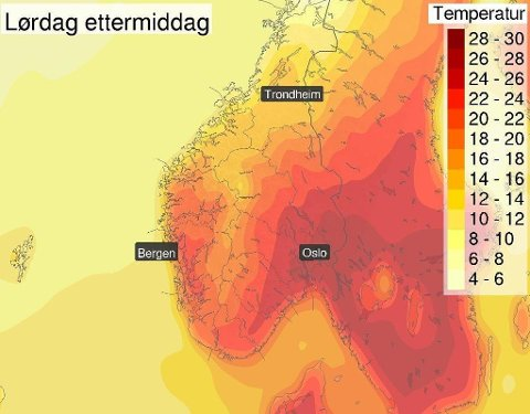 GLADSAK: Hvilken sommerhelg vi har i vente! Foto: Meteorologene på Twitter